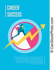 Career success banner with businessman