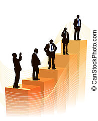 Career - Successful people are standing on a large graph, ...
