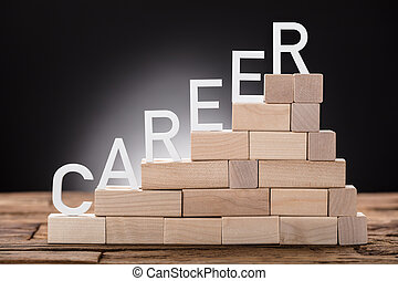Career Text On Steps Made Of Wooden Blocks