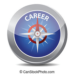 career the way indicated by compass illustration design over...