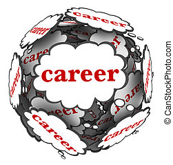 Career Thought Clouds Sphere Thinking Plan Path