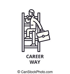 Career way line icon concept. Career way vector linear illustration, symbol, sign