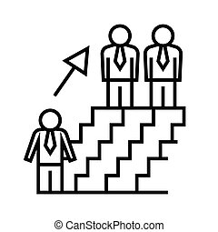 Career way line icon, concept sign, outline vector illustration, linear symbol.