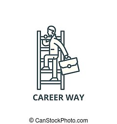 Career way line icon, vector. Career way outline sign, concept symbol, flat illustration