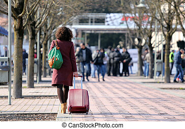 career woman during a business trip with the trolley - smart...
