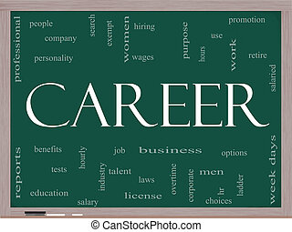 Career Word Cloud Concept on a Blackboard