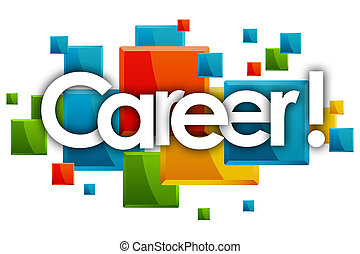career word in rectangles background