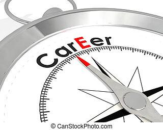 Career word on metallic compass