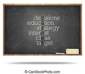 Career word puzzle on blackboard