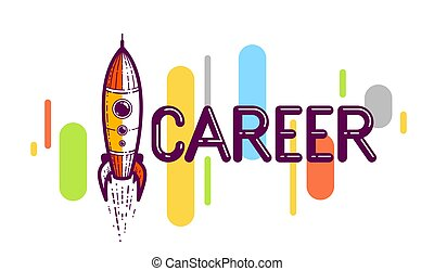 Career word with rocket instead of letter I, work and business concept, vector conceptual creative logo or poster made with special font.