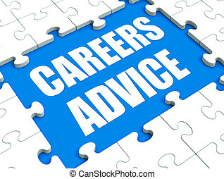 Careers Advice Puzzle Showing Employment Guidance Advising...