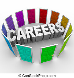 Careers - Word Surrounded by Doors - The word Careers...