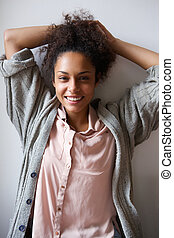 Carefree african american woman smiling