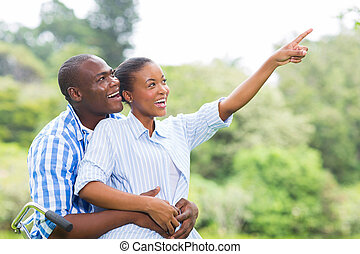 african couple in the forest