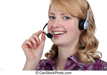 Carefree blond call-center worker