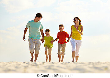 Carefree family - Photo of happy family running down the ...