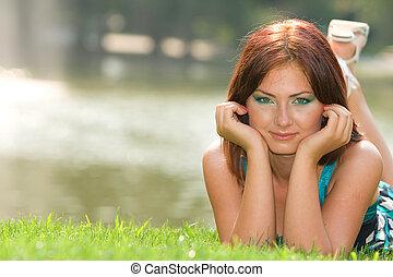 Carefree girl portrait