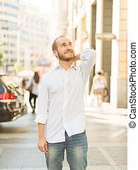 Carefree man on the city