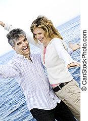 Carefree mature couple