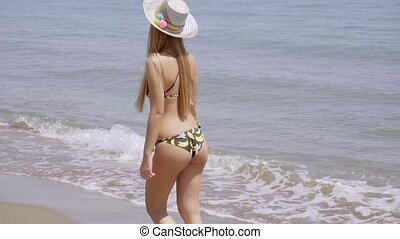 Carefree smiling young woman walking on a beach