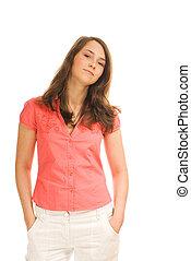 Carefree teenage girl isolated on white background