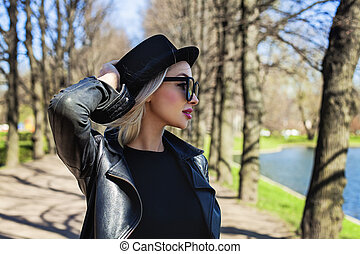 Carefree Woman Outdoors, Fashion Portrait