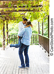 carefree young african american couple outdoors