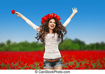 Carefree young attractive laughing woman jumping up