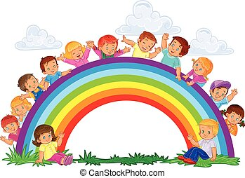 Carefree young children and rainbow - Vector illustration of...