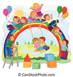 Carefree young children playing on the rainbow - Vector...