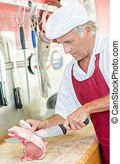 Carefully preparing a cut of beef