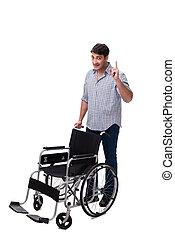 caregiver, à, fauteuil roulant, isolé, blanc