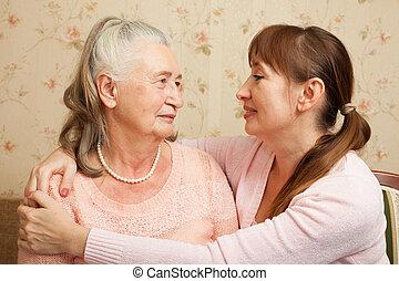 caregiver, -eik, senior woman, home.