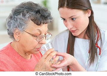 caregiver, femme, vieux
