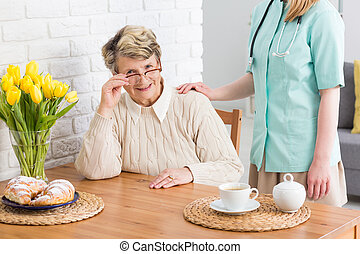 Caregiver for elder woman