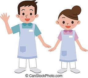 caregiver, hommes, jeunes femmes