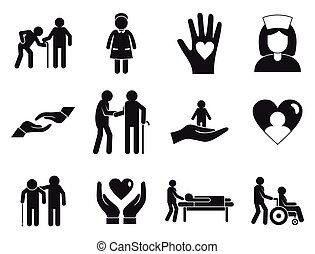 Caregiver icons set, simple style