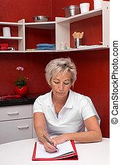 caregiver, kvinnlig, kontor, röd