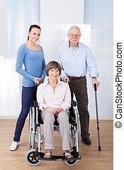 caregiver, mit, behinderten, ältere paare