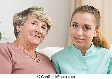 caregiver, mosolyog woman, öregedő