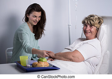 caregiver, paciente, Idoso, dela
