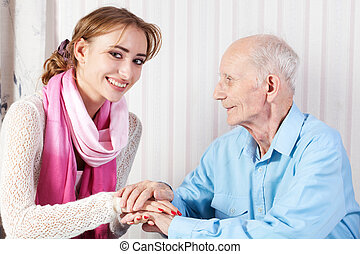 caregiver, personne âgée homme, elle, maison