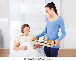 caregiver, portie, ontbijt, om te, oude vrouw