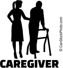 Caregiver silhouette female job title