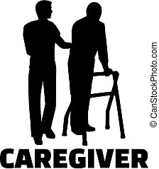 Silhouette of a male caregiver with an elderly man and job titile