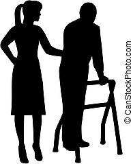 Caregiver silhouette with elderly man