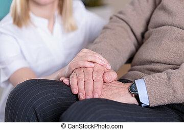 caregiver, steunen, ouder, man