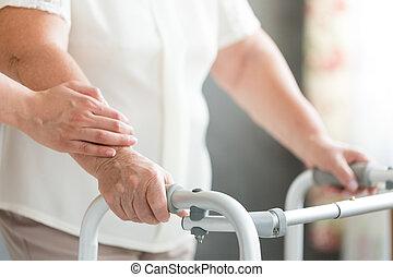 caregiver, steunen, senior, gebruik, walker