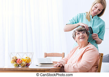 Caregiver take care of patient