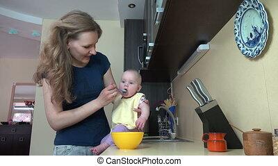 careless babysitter baby - Careless babysitter woman feed...